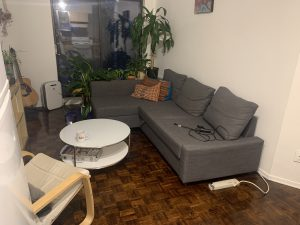Before photo of small living room with grey couch