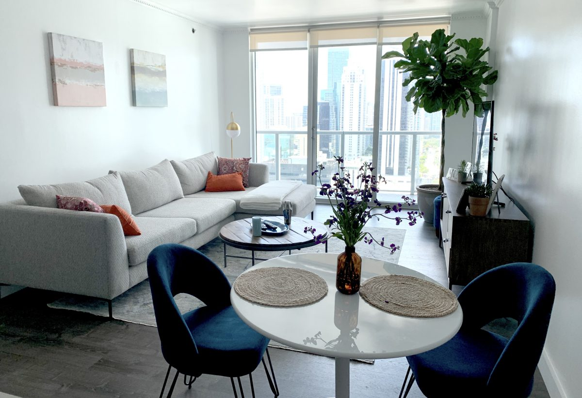 Furnished living dining room