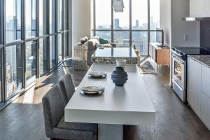 Open living dining rooms in grey and white